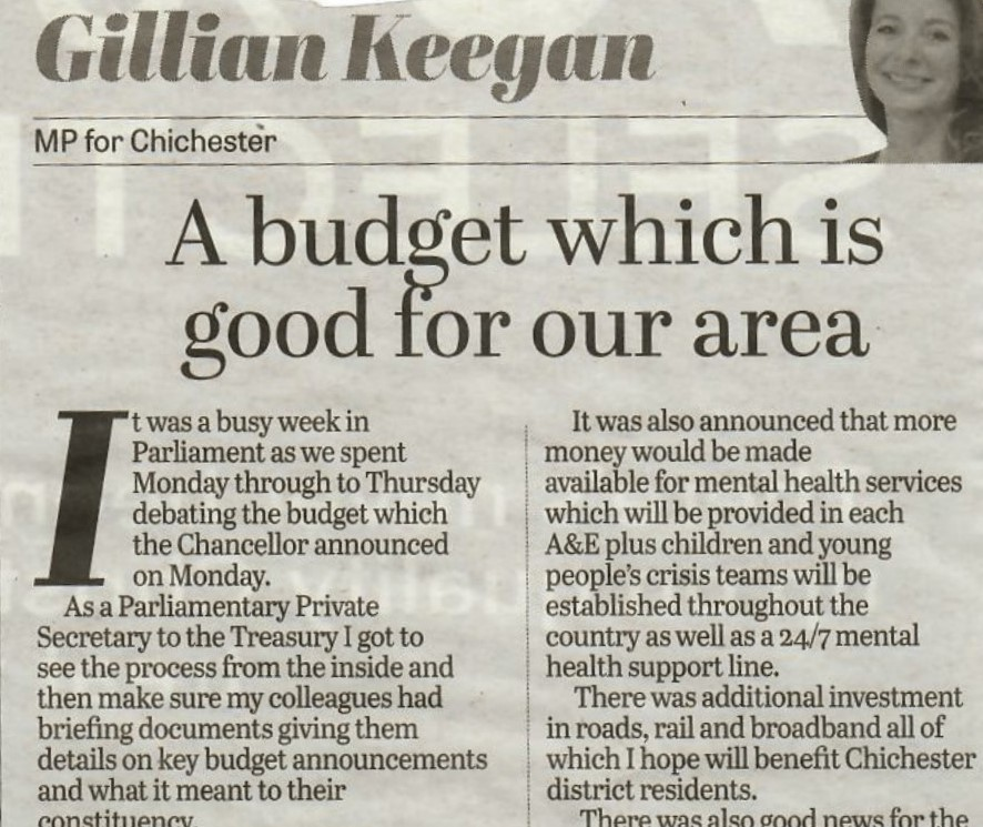 Good News About Mental Health In Our >> A Budget Which Is Good For Our Area Chichester Observer Gillian