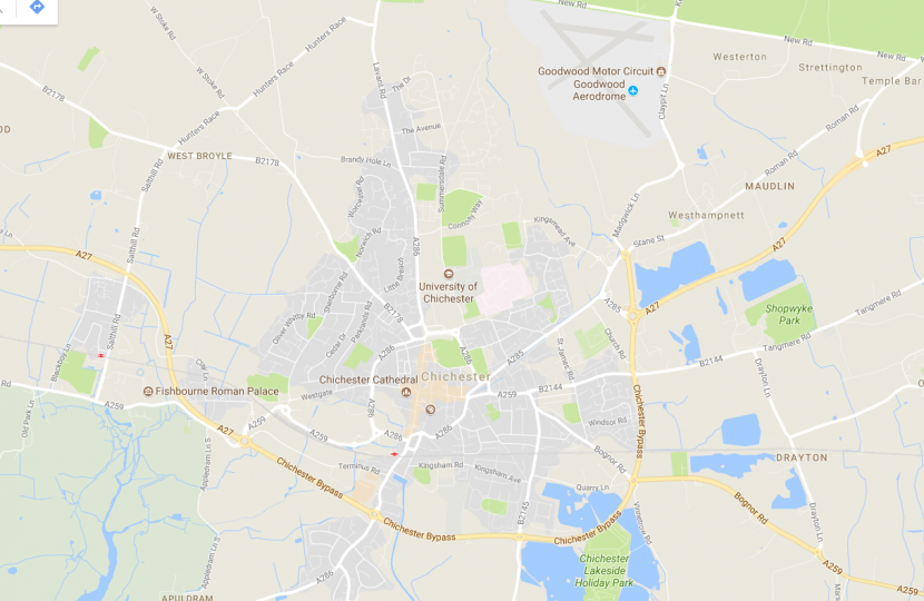 Map of Chichester (A27)