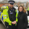 Gillian with police officer on a speed prevention day